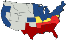 Map of United States and Confederate States in 1861