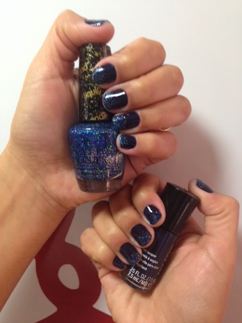 Esmalte Blue Knight Mary Kay + Glitter Get your Number OPI