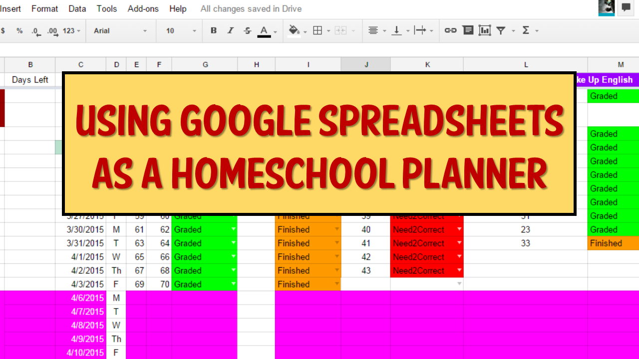 Using Google Spreadsheets as a Homeschool Planner