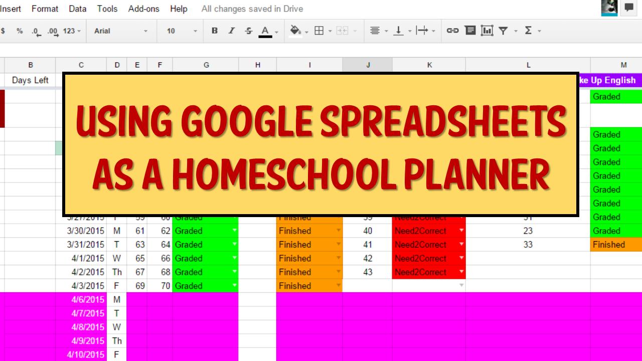 Using Google Spreadsheets as a Homeschool Planner