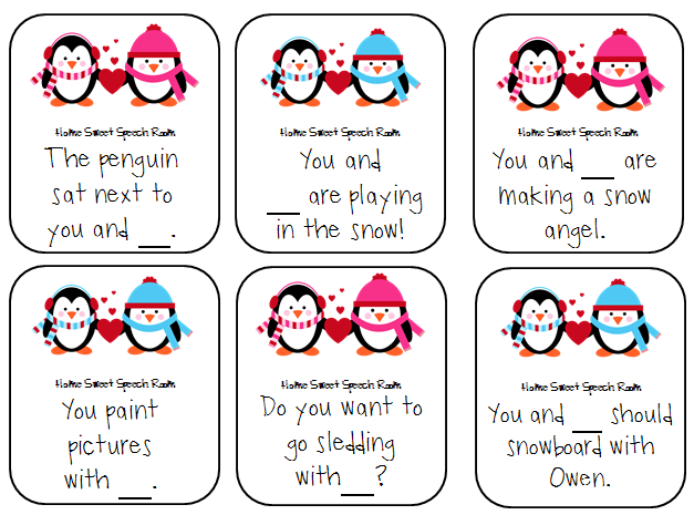 Valentine Penguins You and I versus You and Me – Valentine Cards for Students