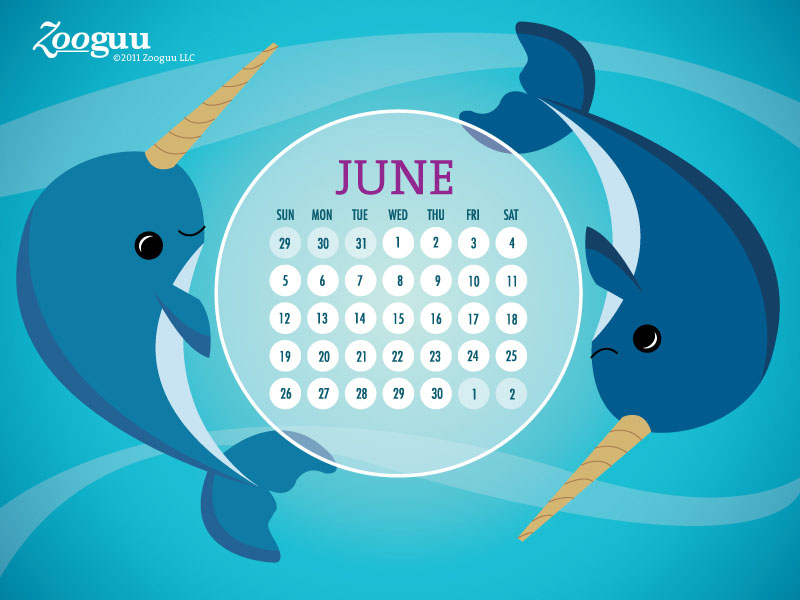 Happy June Narwhal Calendar title=
