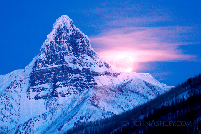 Full moon rising over Mount Saint Nicholas, in Glacier National Park (c) John Ashley