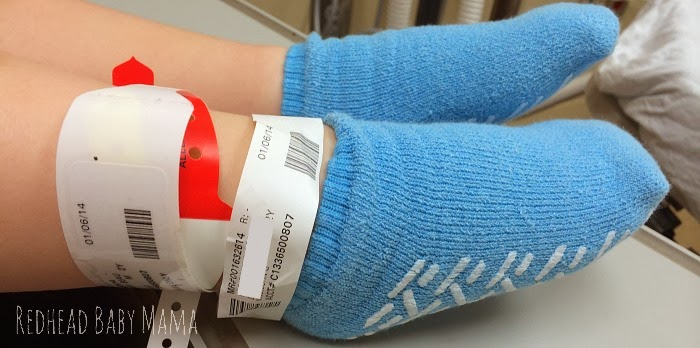 Multiple labels and bracelets ensure your child's procedure and medications are correct - Redhead Baby Mama