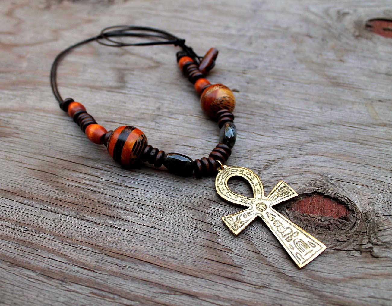 mens brass ankh pendant necklace