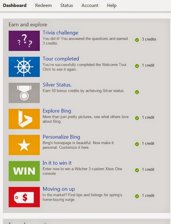 Top Notch Material: Bing Rewards, earn rewards just by searching the ...