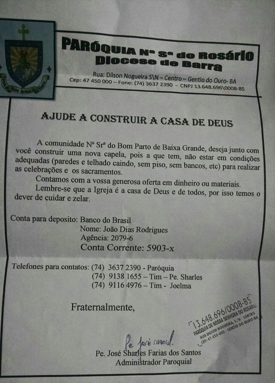 "Comunidade de Baixa Grande clama por ajuda para construir "" A CASA DE DEUS """