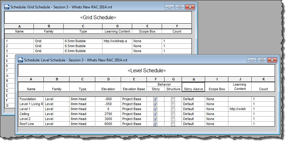 Revit Oped Revit 2014 Schedule Grids And Levels