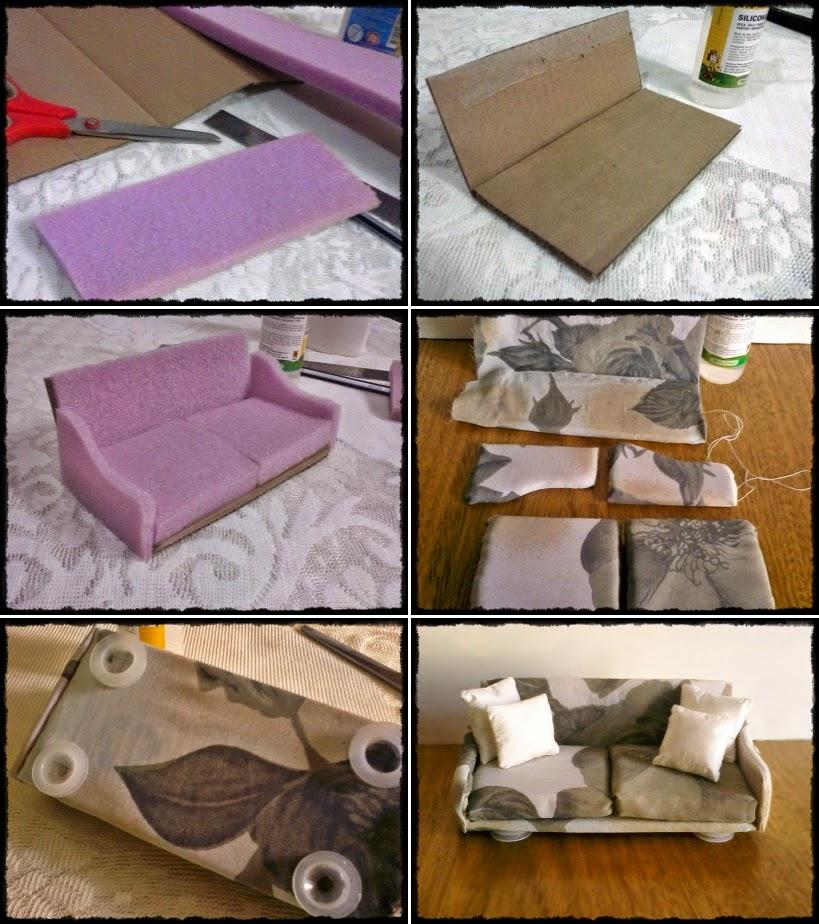 Casa de mu ecas dollhouse diy c mo hacer un sof para - Manualidades para realizar en casa ...
