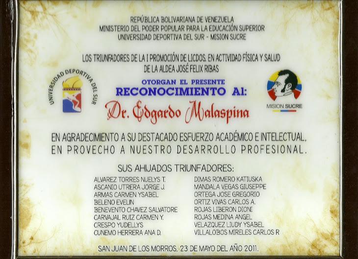 PADRINO DE LA PRIMERA PROMOCIÓN. MISIÓN SUCRE.