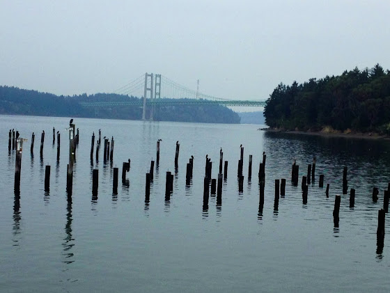 Titlow Beach in Tacoma, WA looking Northwest at the Narrows Bridge.