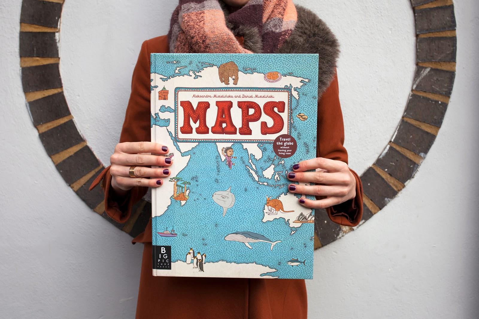 Portada del libro MAPS, Atlas ilustrado por Aleksandra Mizielinska y Daniel Mizielinski