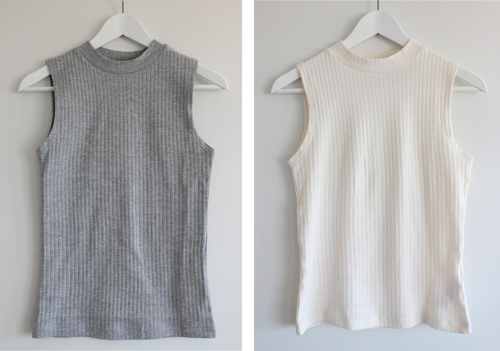 New Look, New Look tank tops, New Look tank tops cream grey, New Look high neck tops, New Look high neck tank tops, New Look high neck vests