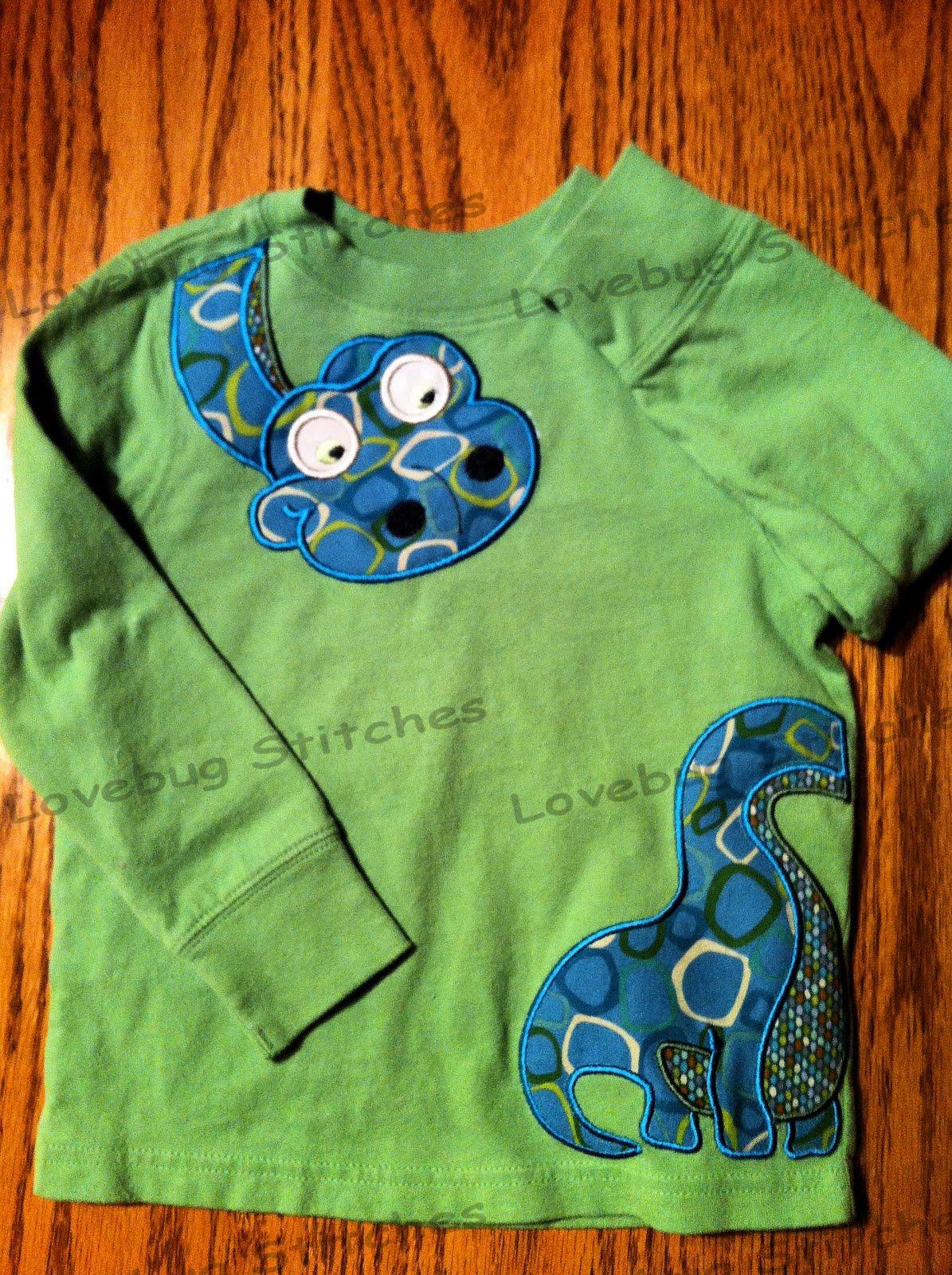 Lovebug stitches new item dinosaur shirt for Girly dinosaur fabric