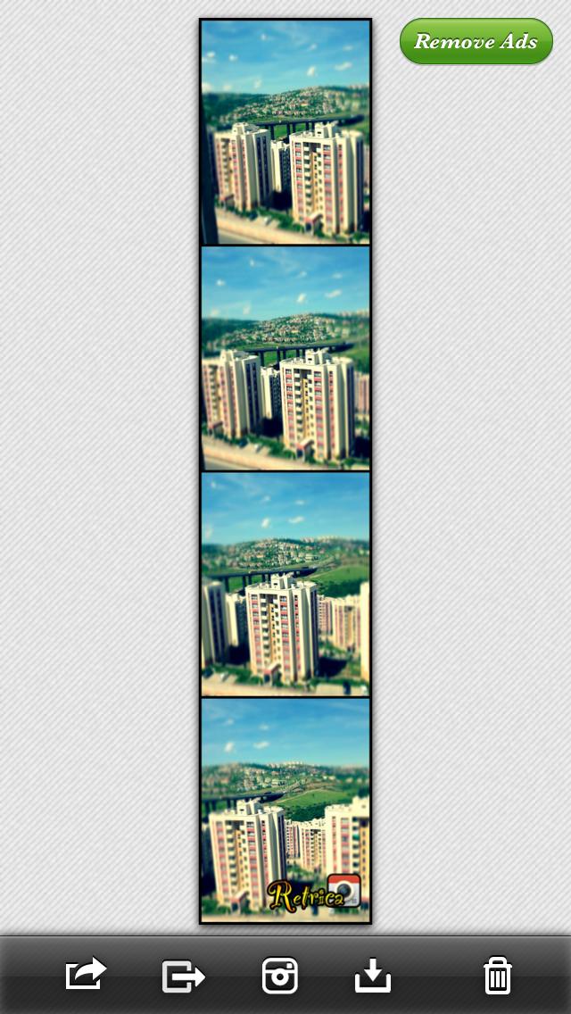 Uygulamanın ücretsiz versiyonunda fotoğrafın altında Retrica