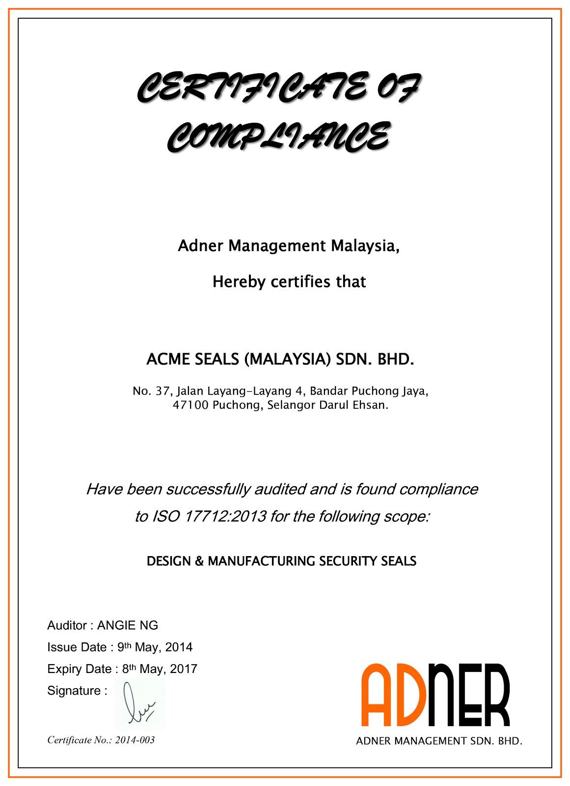 Seal niêm phong ISO 17712:2013