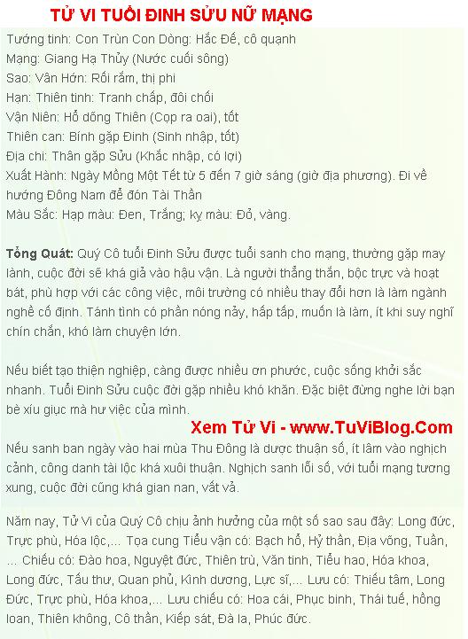 Tu Vi Tuoi Dinh Suu 1997 Nam 2016