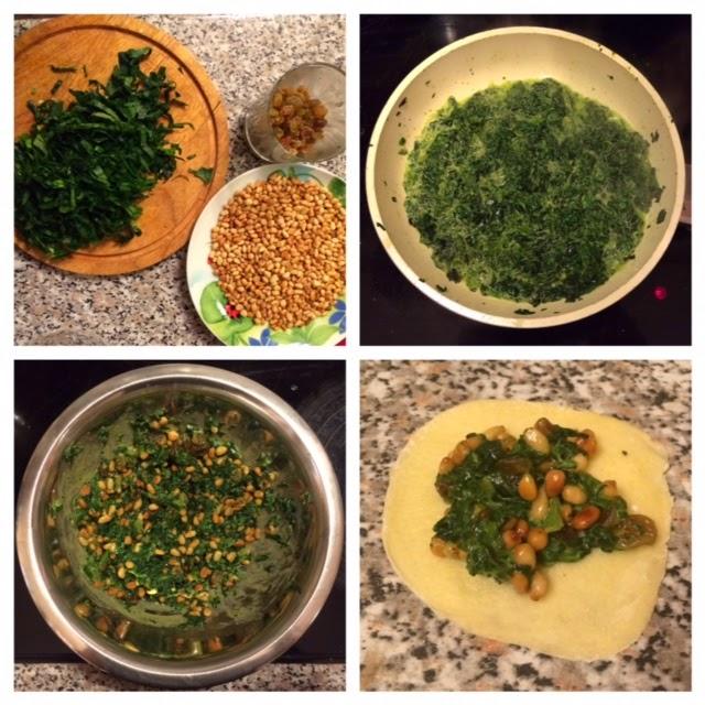 Пирожки из слоеного теста со шпинатом, изюмом и кедровыми орешками