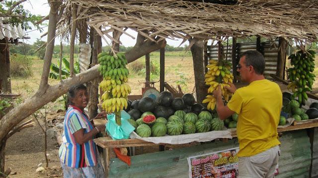 Puestecillo de sandías y plátanos en Sri Lanka