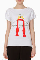 Tricou alb pictat manual cu aplicatie papion model DonaKyrosBP1017 (Ama Fashion)