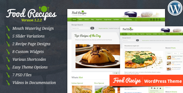 Food Recipes - ThemeForest WordPress Theme