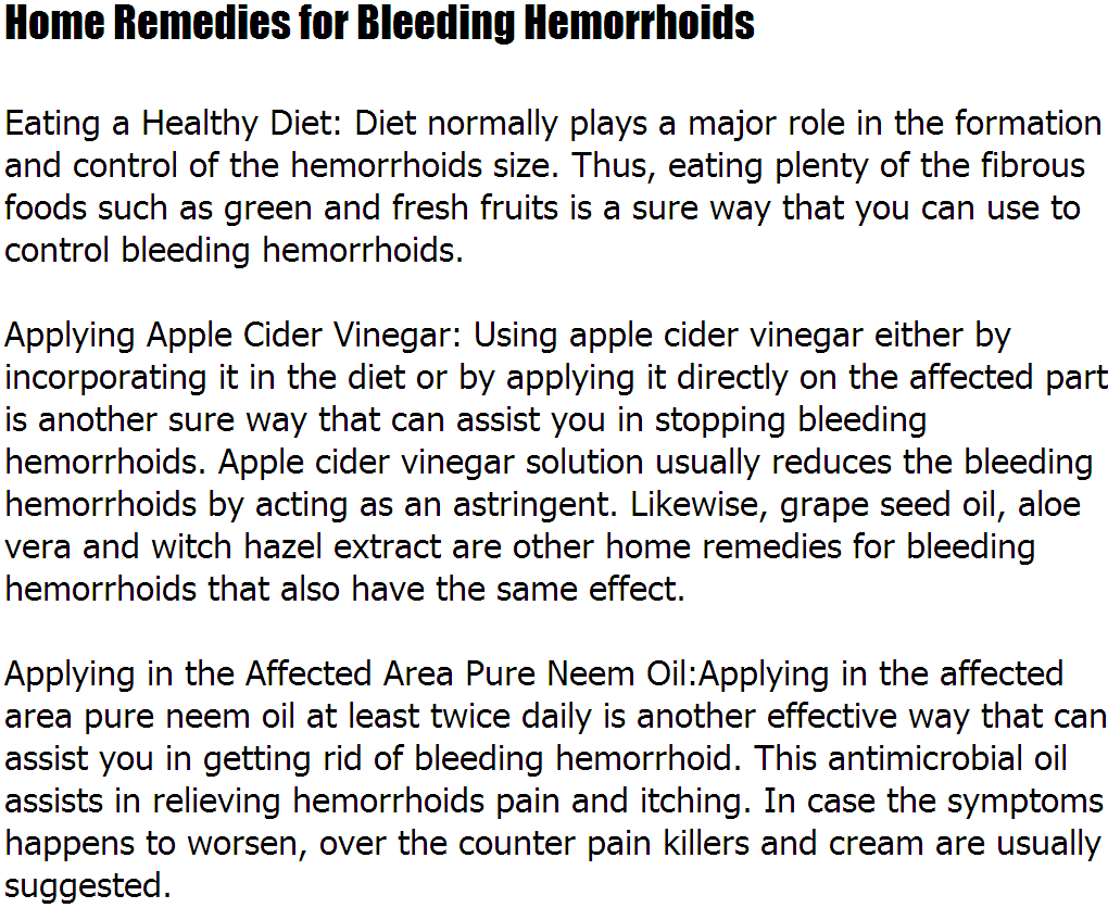How To Stop Hemorrhoids From Bleeding – Home Remedies for Bleeding ...