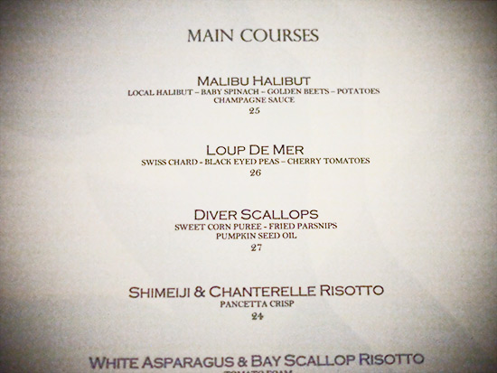Stefan's at LA Farm: Excerpt of Dinner Menu
