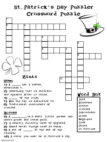 This is a picture of Zany St Patrick's Day Crossword Puzzle Printable