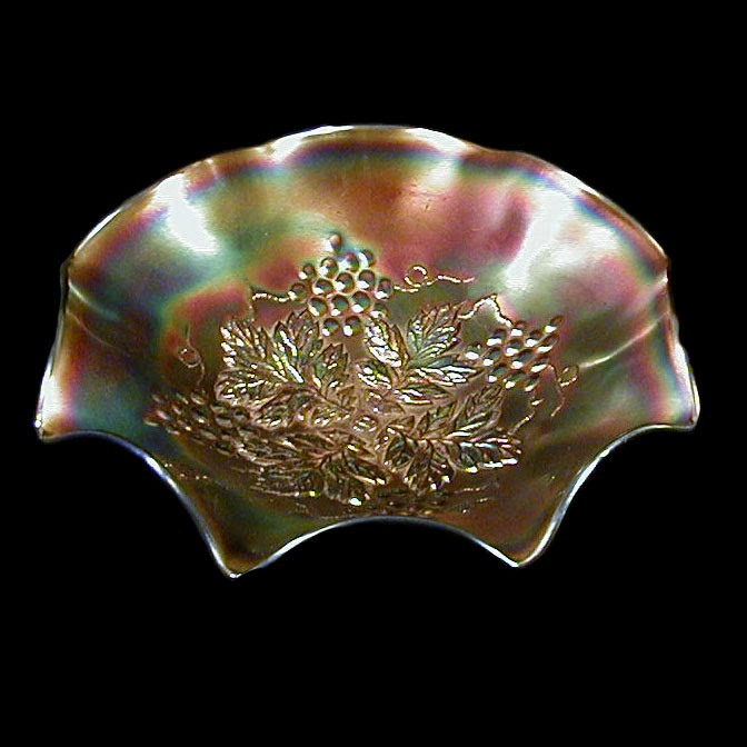 EAPG Amethyst Carnival Grape Leaf Bowl