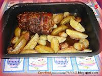 Arrosto di vitello con patate e cipolle