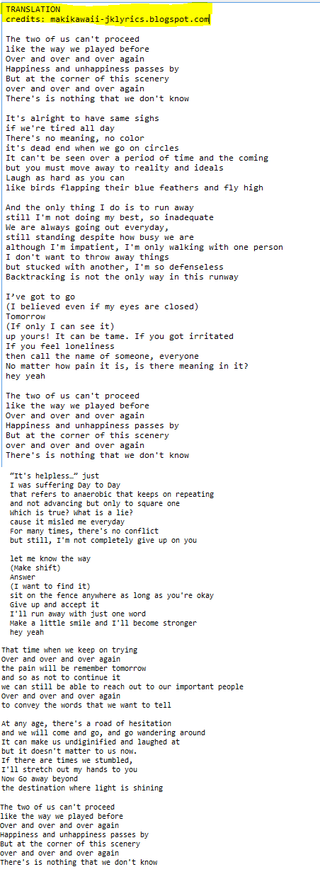 Lyric if you go away lyrics : Random Jpop and Kpop Lyrics + Translations : 2015