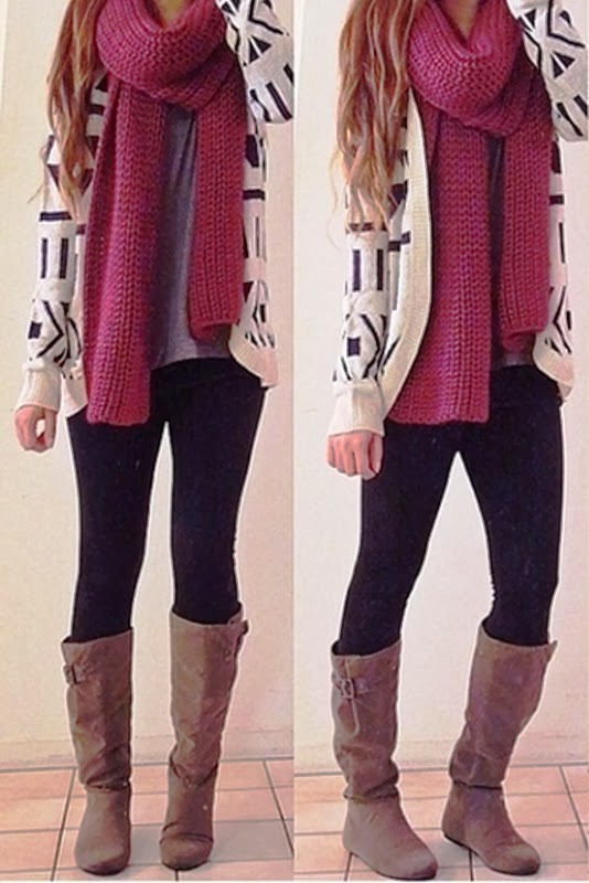 Fall outfits with cardigan, scarf and long boots