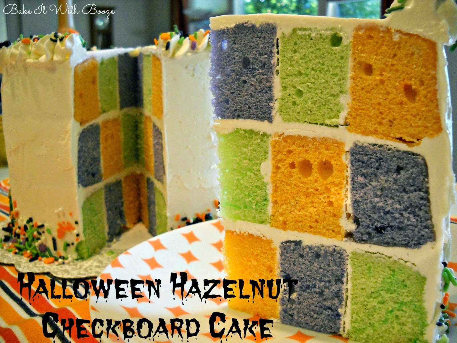 Halloween Hazelnut Checkerboard Cake