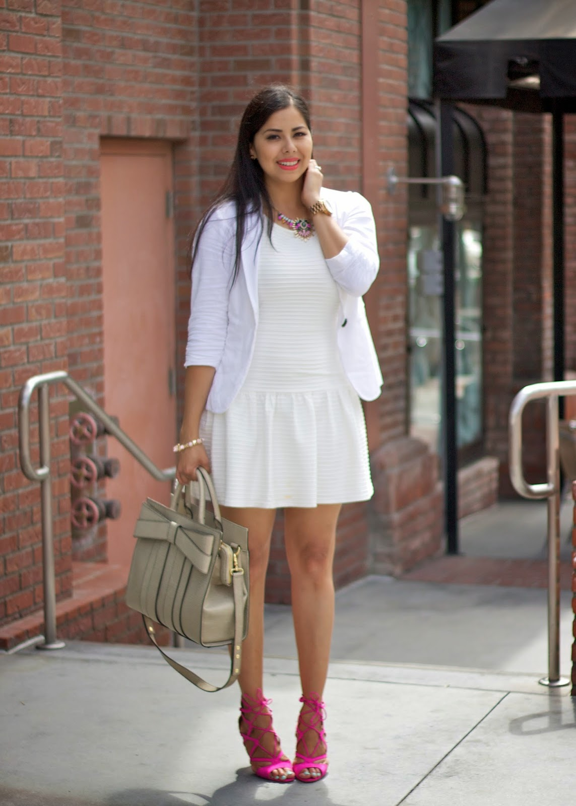white peplum hem dress, white dress from jcp, white on white, white out outfit, san diego style bloggers