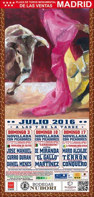 MADRID LAS TRES NOVILLADAS CON PICADORES DE JULIO 2016..