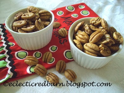 Eclectic Red Barn: Ellott pecans with Christmas tea towel