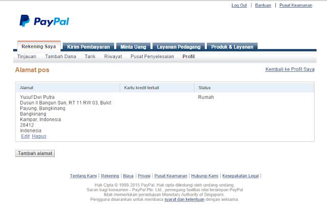 Alamat yang digunakan pada PayPal dan KTP