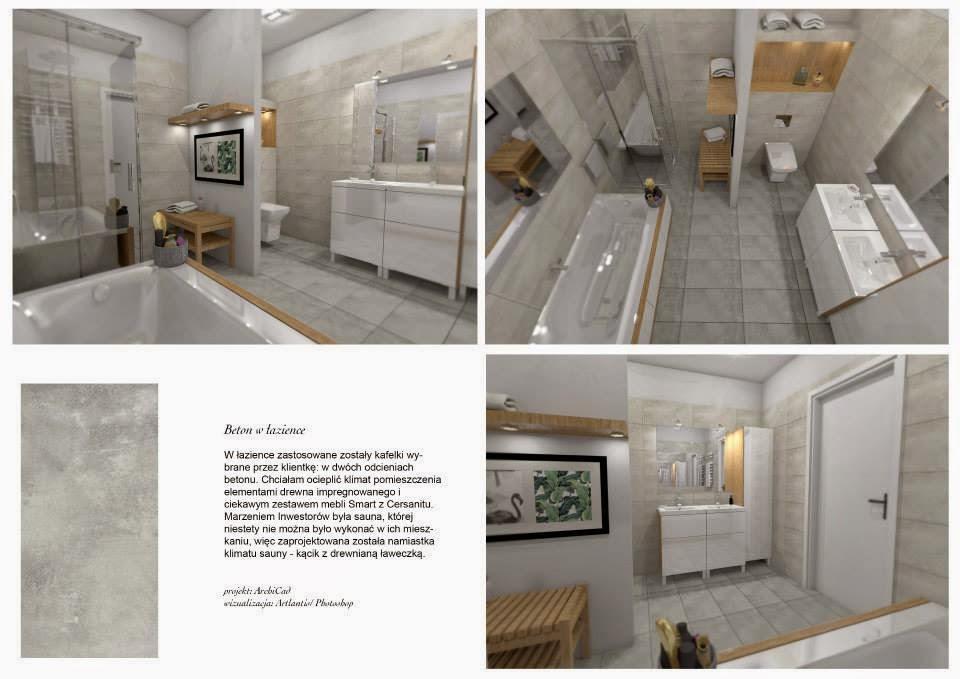 łazienka beton+drewno