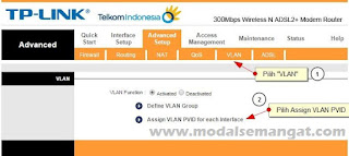 "Menu ""VLAN"" dan lanjut ke ""Assign VLAN PVID for each Interface"""