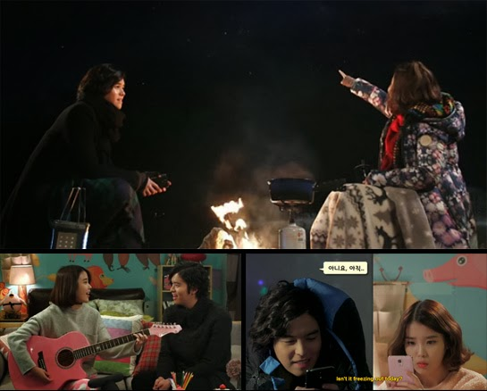 David and Bo Tong star gazing / David teaches Bo Tong how to play the guitar / David and Bo Tong texting each other.