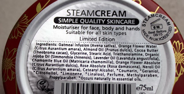 STEAMCREAM moisturizer moisturiser ingredients