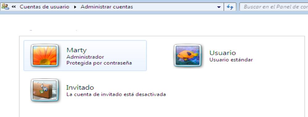 Cuentas usuario windows