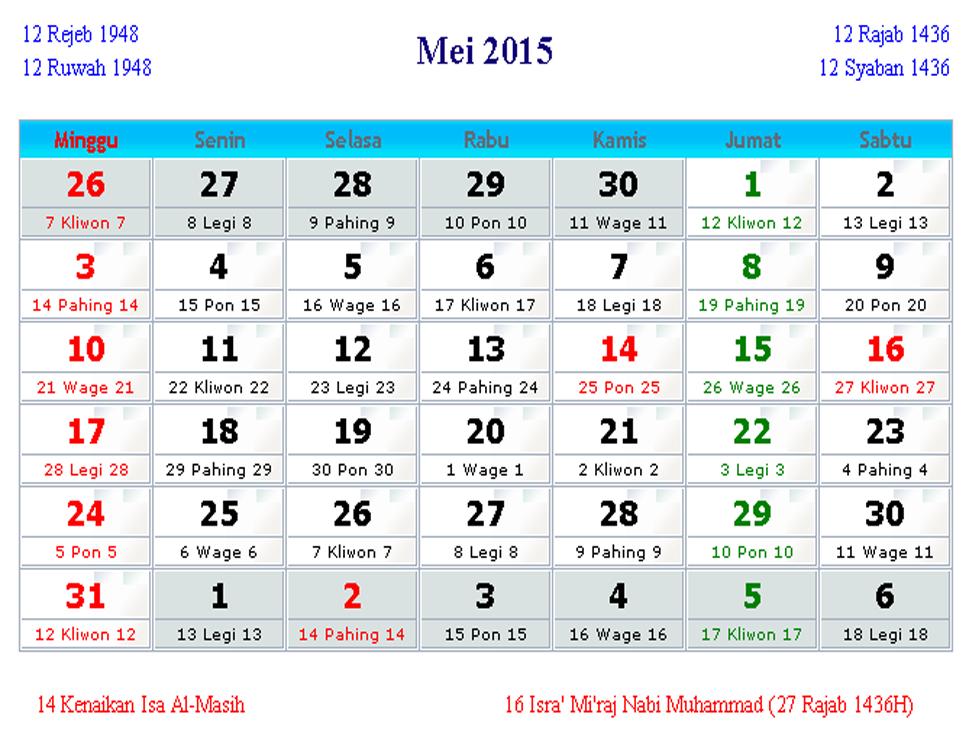 Kalendar+Bulan+Mei Kalender Bulan Mei 2015 | Sumber Informasi ...