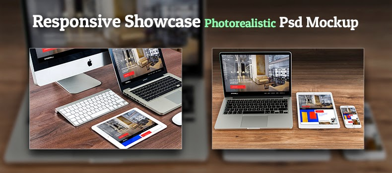 Photorealistic Responsive Showcase Mockup PSD