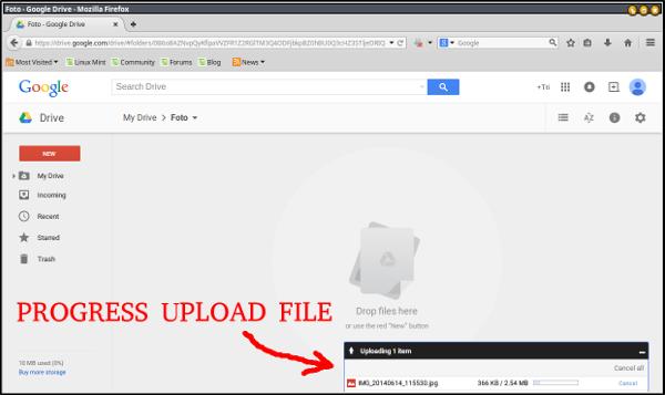 google drive-selesai upload file