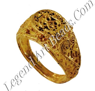 Fatimid designs were stylized and very ornate. These rings are fabricated from gold sheet, filigree, and granulation that were used to decorate them with scrolls and rosettes.