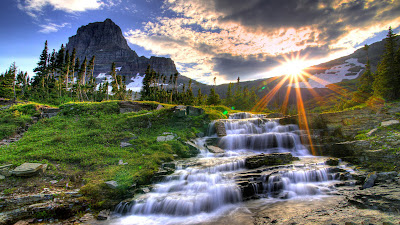 Flowing Water Shining Sun Full HD Nature Background Wallpaper For Laptop Widescreen