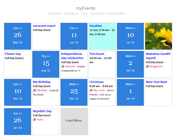you may also share events with images by adding the image link in your event description in google calendar the events are also linked to your google - Events Calendar