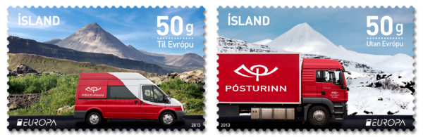 Europe Stamps 2013 - Postal Vehicles - http://stamps.postur.is/