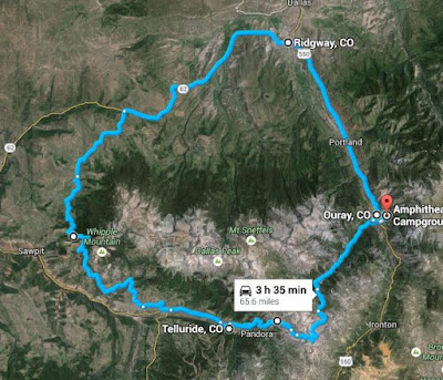 Our route through Colorado including Imogene Pass